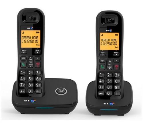 British Telecom BT 1200 Twin DECT telephone Caller ID Black