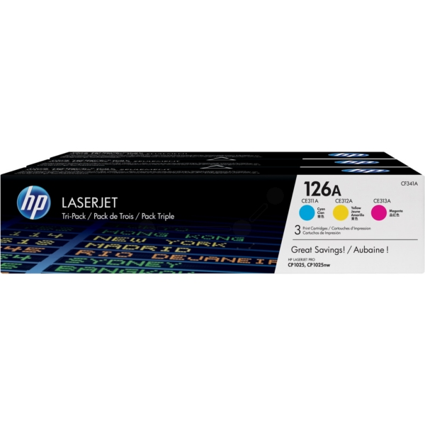 HP CF341A (126A) cyan magenta yellow, 1000 pages, Pack qty 3