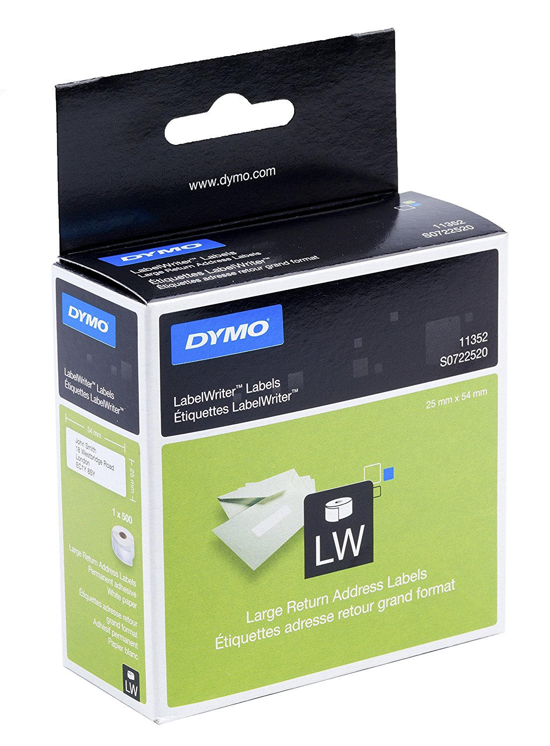 DYMO 11352 (S0722520) DirectLabel-etikettes, 500 pages, 54mm x 25mm
