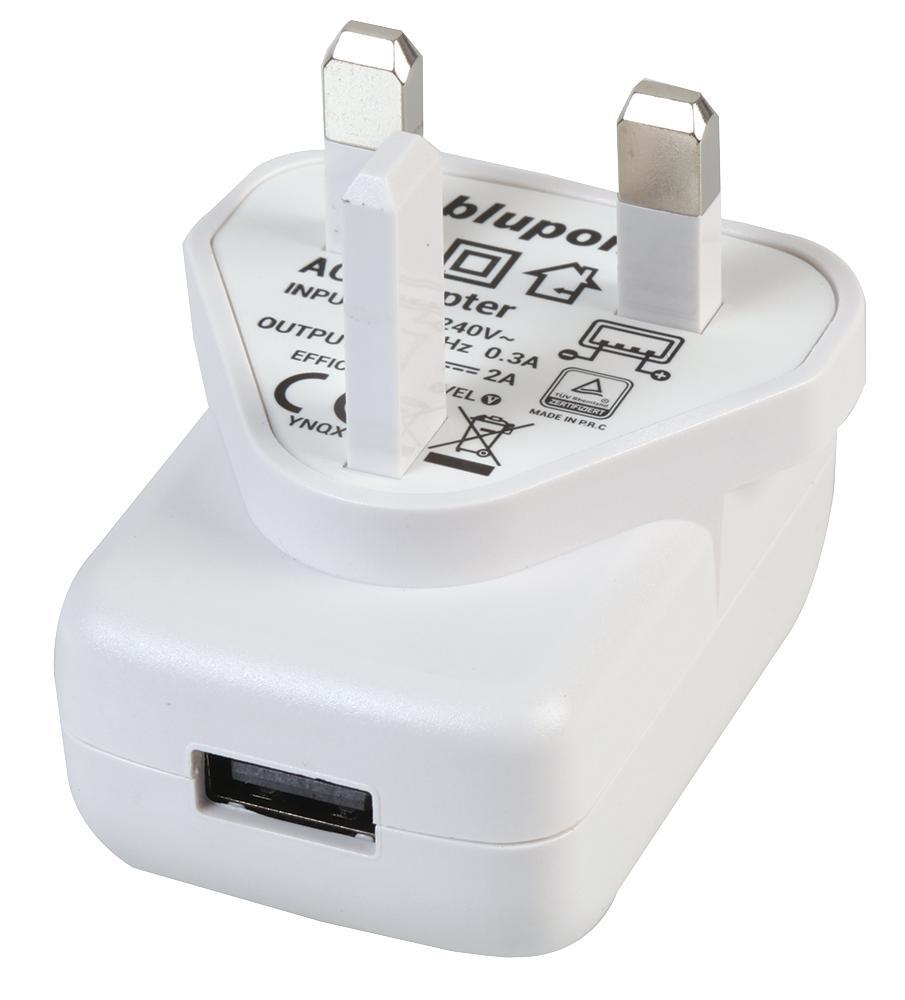 LMS UK USB Adaptor - UK Plug 2A USB - White