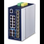PLANET IP30 Industrial L3 8-Port Managed Gigabit Ethernet (10/100/1000) Blue, White