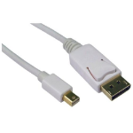 Mini DisplayPort Male to DisplayPort Male Converter Cable, 2 Metres, Gold Connectors, White