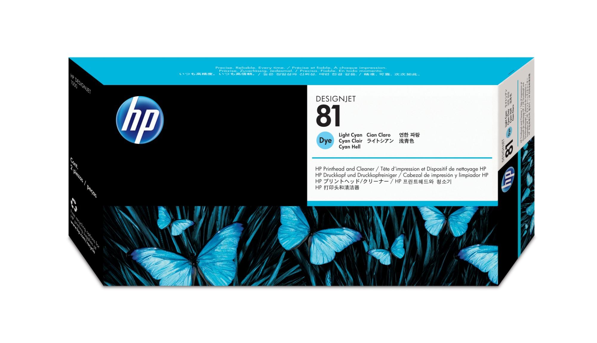 HP 81 Light Cyan DesignJet Dye Printhead and Printhead Cleaner