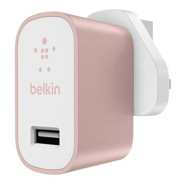 Belkin MIXIT Metallic Home Charger Auto, Interior Rosa, Blanco