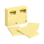 Post-It Notes, 4 in x 6 in, Canary Yellow, Lined, 6 Pads/Pack