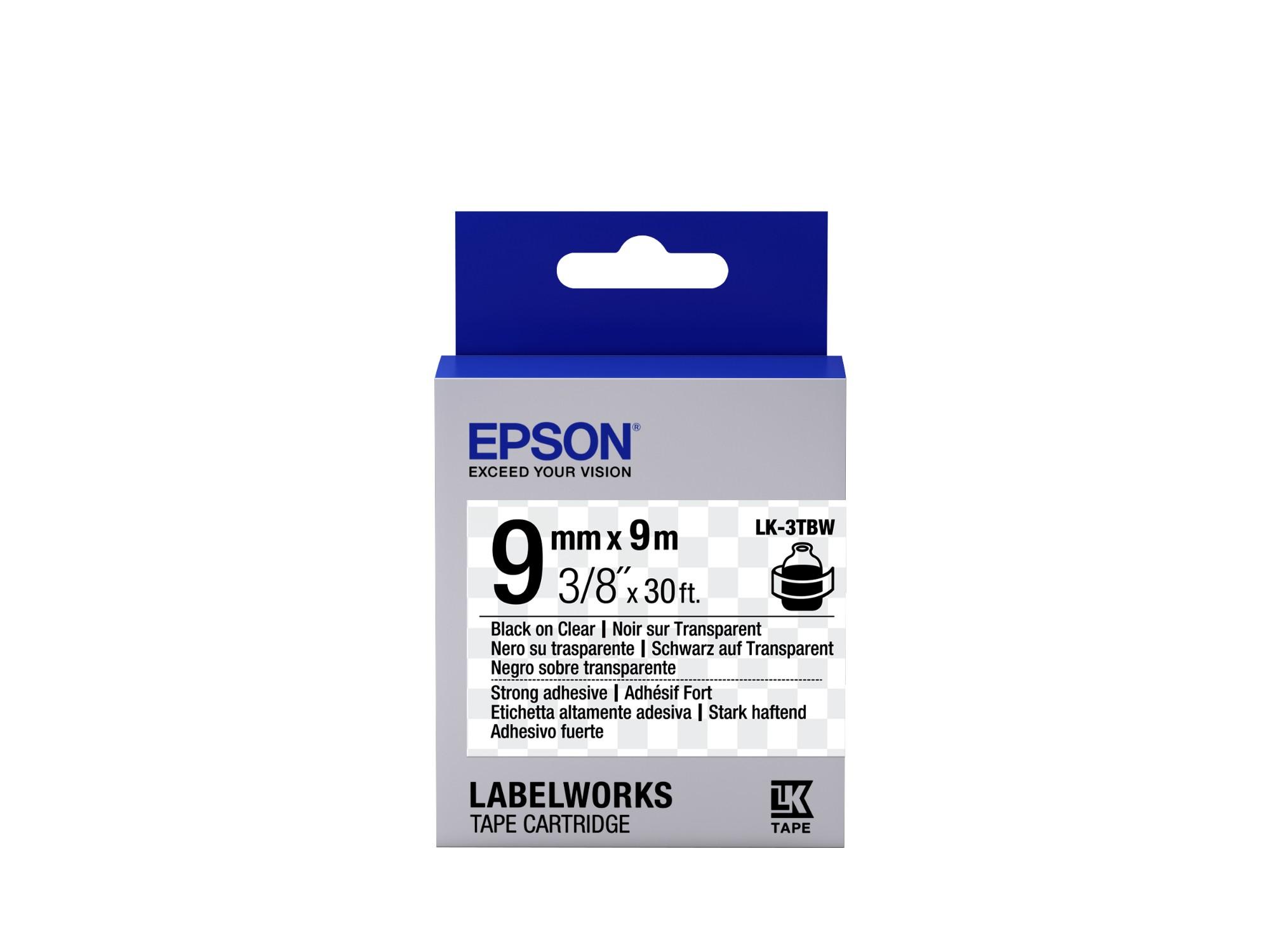 Epson Cinta adhesiva resistente - LK-3TBW cinta adhesiva resistente negra/transparente 9/9