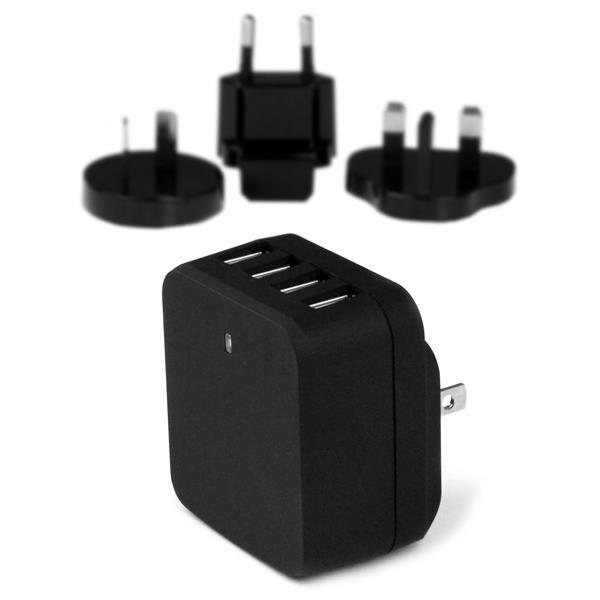 StarTech.com Cargador de Pared USB de 4 Puertos - para Viajes Internacionales - 34W/6,8A - Negro