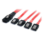 StarTech.com 1m Serial Attached SCSI SAS Cable - SFF-8087 to 4x Latching SATA SAS8087S4100
