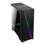 Aerocool Cylon Black RGB LED Mid Tower with Tempered Glass ATX MicroATX Mini-ITX 1x120mm Fans 1xHD Audio 1xMi