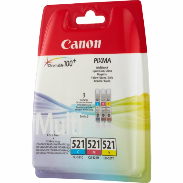 Canon 2934B010 (521) Ink cartridge multi pack, 446 pages, 9ml, Pack qty 3