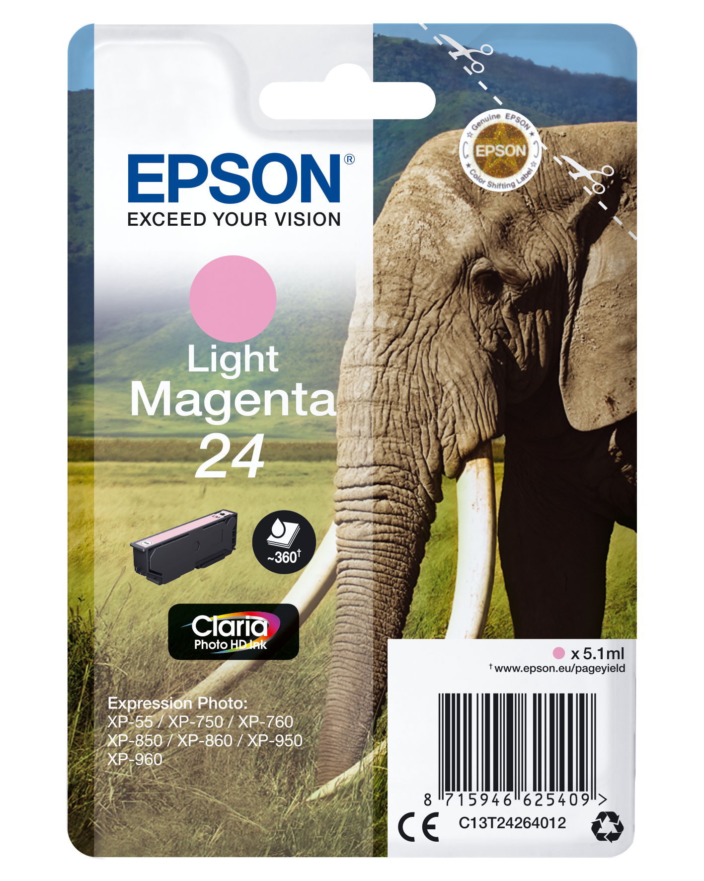 Epson Elephant Singlepack Light Magenta 24 Claria Photo HD Ink