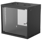 "Intellinet Network Cabinet, Wall Mount (Basic), 9U, 400mm Deep, Black, Flatpack, Max 50kg, Glass Door, 19"", Three Year Warranty"