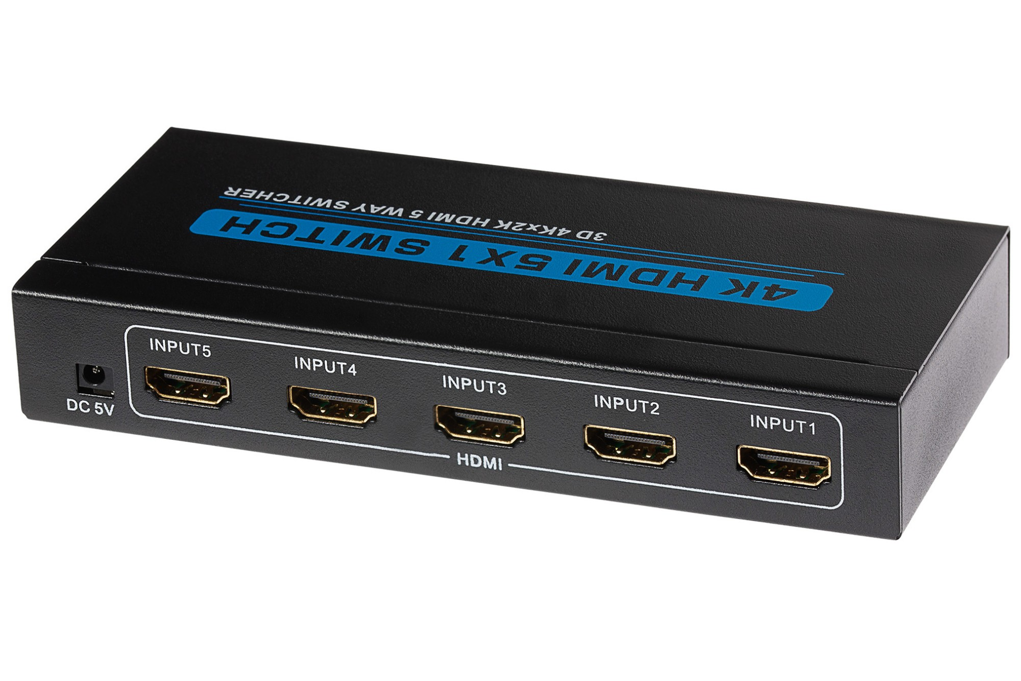 Nikkai HDMI Switch 5 Ports in 1 Port out 4k 30Hz Resolution Remote Control- Black