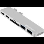 eSTUFF ES84122-SILVER USB 3.0 (3.1 Gen 1) Type-C 5000Mbit/s Silver interface hub