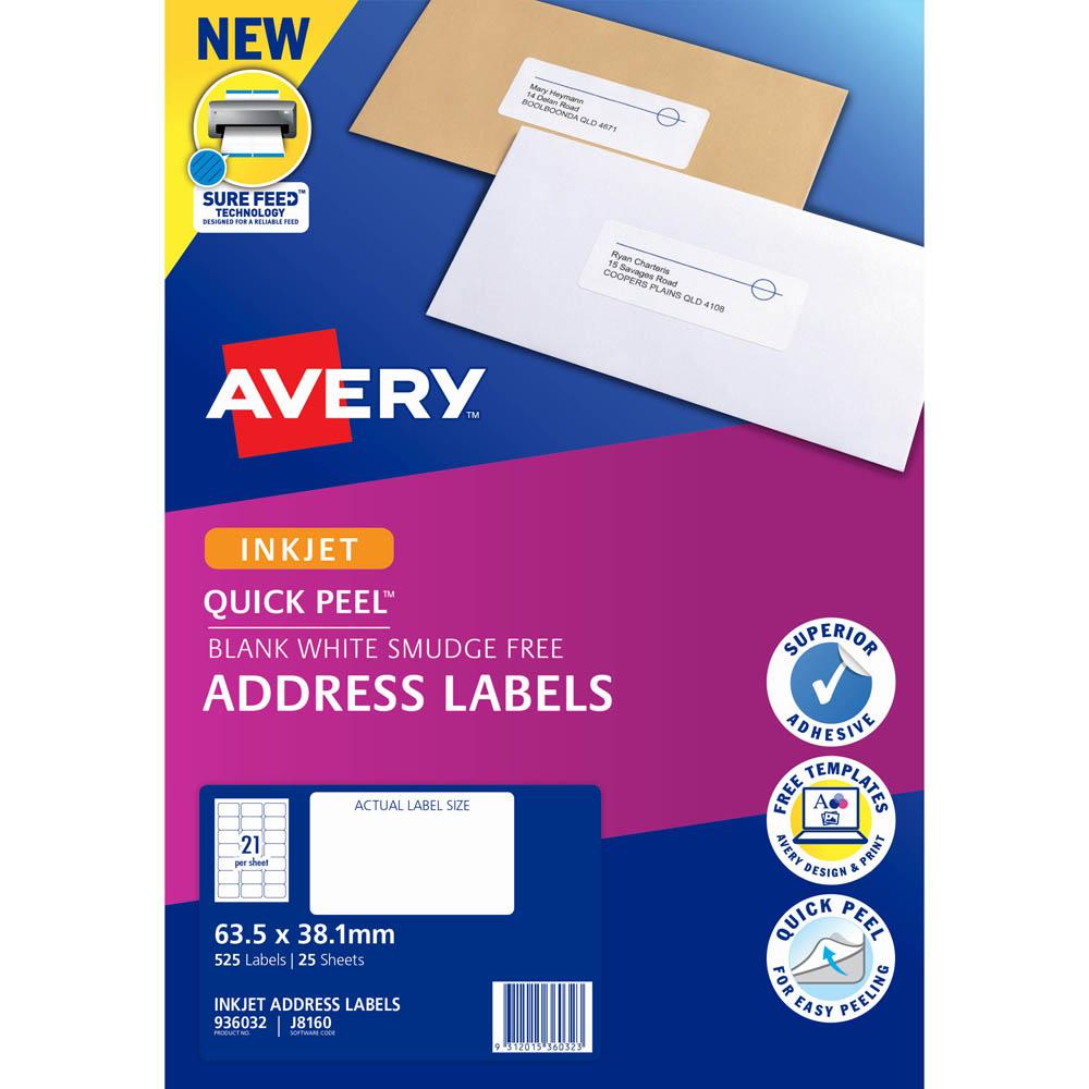 New Avery 936032 J8160 Inkjet Labels Smudge Free Address