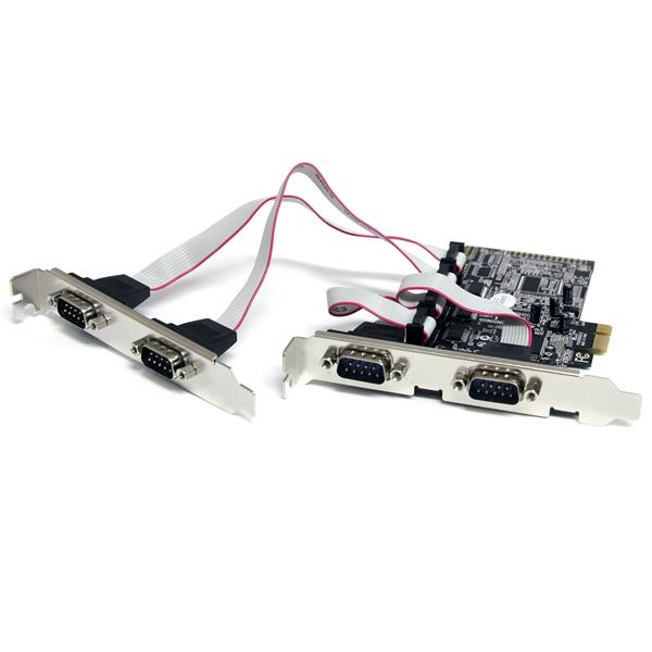 StarTech.com Tarjeta Adaptadora PCI Express PCIe de 4 Puertos Serie RS232 UART 16550 Serial DB9