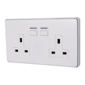 LIGHTWAVE LWGEN 2 SMART SOCKET 2 GANG - WHITE