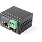 StarTech.com PoE+ Industrial Fiber to Ethernet Media Converter 30W - SFP to RJ45 - Singlemode/Multimode Fiber to Copper Gigabit Ethernet - Mini/Compact Size - IP-30/ -40 to +75C