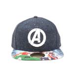 Marvel Avengers Assemble Logo with Bill Print Snapback Baseball Cap, Multi-Colour (SB241110AVG)