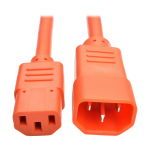 Tripp Lite Heavy-Duty Power Extension Cord, 15A, 14 AWG (IEC-320-C14 to IEC-320-C13), Orange, 1.83 m