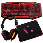 GameMax Raptor Keyboard Mouse Headset Mouse Mat Kit In Red