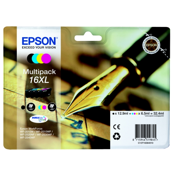 Epson C13T16364012 (16XL) Ink cartridge multi pack, 12,9ml + 3x 6,5ml, Pack qty 4