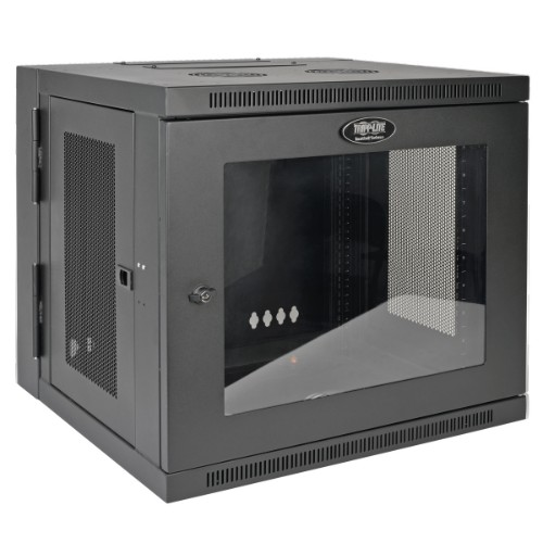 Tripp Lite SmartRack 10U Low-Profile Switch-Depth Wall-Mount Rack Enclosure Cabinet with Clear Acrylic Window, Hinged Back