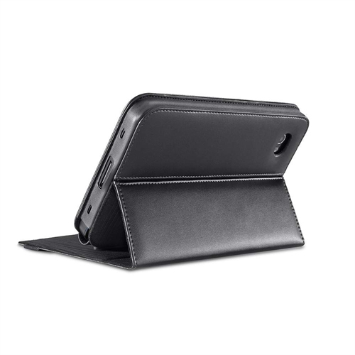 Galaxy 7in Faux Leather Folio With Stand - Black