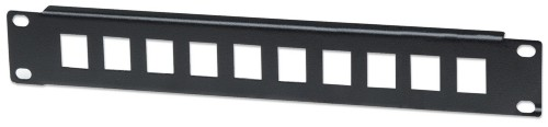 "Intellinet Patch Panel, Blank, 10"", 1U, 10-Port, Black"