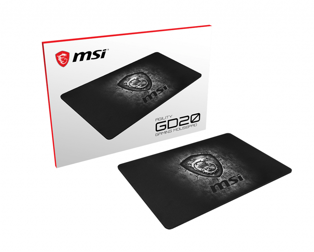MSI AGILITY GD20 Pro Gaming Mousepad '320mm x 220mm, Pro Gamer ultra-smooth textile surface, Iconic Dragon design, Anti-slip and shock-absorbing rubber base'