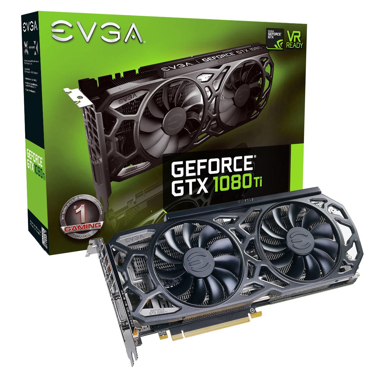 EVGA GeForce GTX 1080 Ti SC Black Edition Gaming, 11GB GDDR5X, DVI, HDMI,  3x DisplayPort 11G-P4-6393-KR