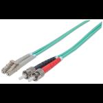 Intellinet Fibre Optic Patch Cable, Duplex, Multimode, ST/LC, 50/125 µm, OM3, 2m, LSZH, Aqua, Fiber, Lifetime Warranty