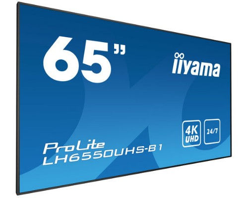 "iiyama LH6550UHS-B1 signage display 165.1 cm (65"") LED 4K Ultra HD Video wall Black"
