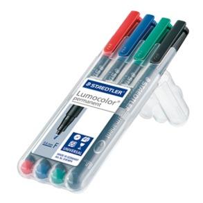 Staedtler Lumocolor 318 WP4 permanent marker Fine tip Black, Blue, Green, Red 4 pc(s)