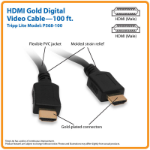 Tripp Lite Standard Speed HDMI Cable, 1080p, Digital Video with Audio (M/M), Black, 30.5 m (100-ft.)