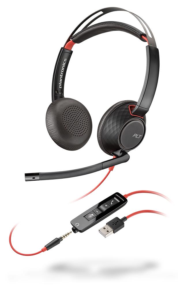 POLY Blackwire C5220 Auriculares Diadema Negro, Rojo