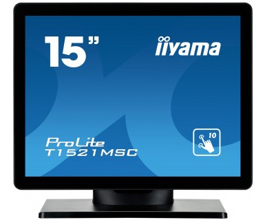 "iiyama ProLite T1521MSC-B1 touch screen monitor 38.1 cm (15"") 1024 x 768 pixels Black Multi-touch Tabletop"