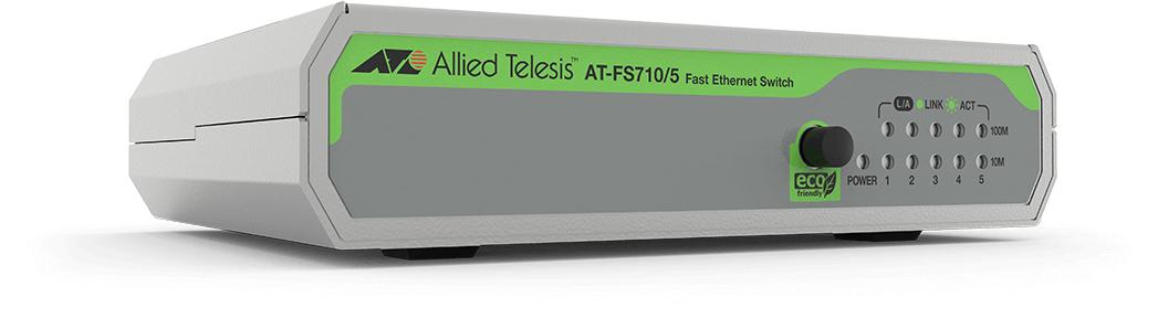 Allied Telesis FS710/5 No administrado Fast Ethernet (10/100) Verde, Gris