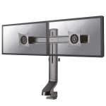 "Newstar Tilt/Turn/Rotate Dual Desk Mount (clamp & grommet) for two 10-27"" Monitor Screens, Height Adjustable - Black"