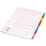 Concord Index Multicolour-tabbed Mylar-Reinforced 4 Holes 10-Part A4 White Ref 00801/CS8