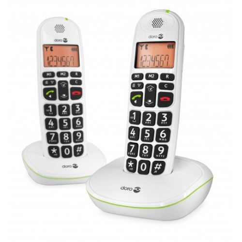 Doro PhoneEasy 100w duo DECT telephone Caller ID White