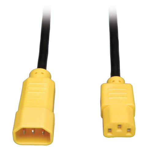 Tripp Lite Standard Computer Power Extension Cord, 10A, 18AWG (IEC-320-C14 to IEC-320-C13, Yellow Plugs), 4-ft.