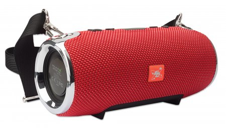 Manhattan Sound Science Bluetooth® Speaker, Red, Output 3W, 3 hour Playback time, Music Control Buttons, Shoulder Strap, Range 10m, microSD card reader (32GB), Aux 3.5mm connector, USB-A charging cable included (5V charging), 1200mAH battery, Bluetooth v5