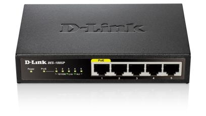 D-Link DES-1005P switch No administrado Negro Energía sobre Ethernet (PoE)