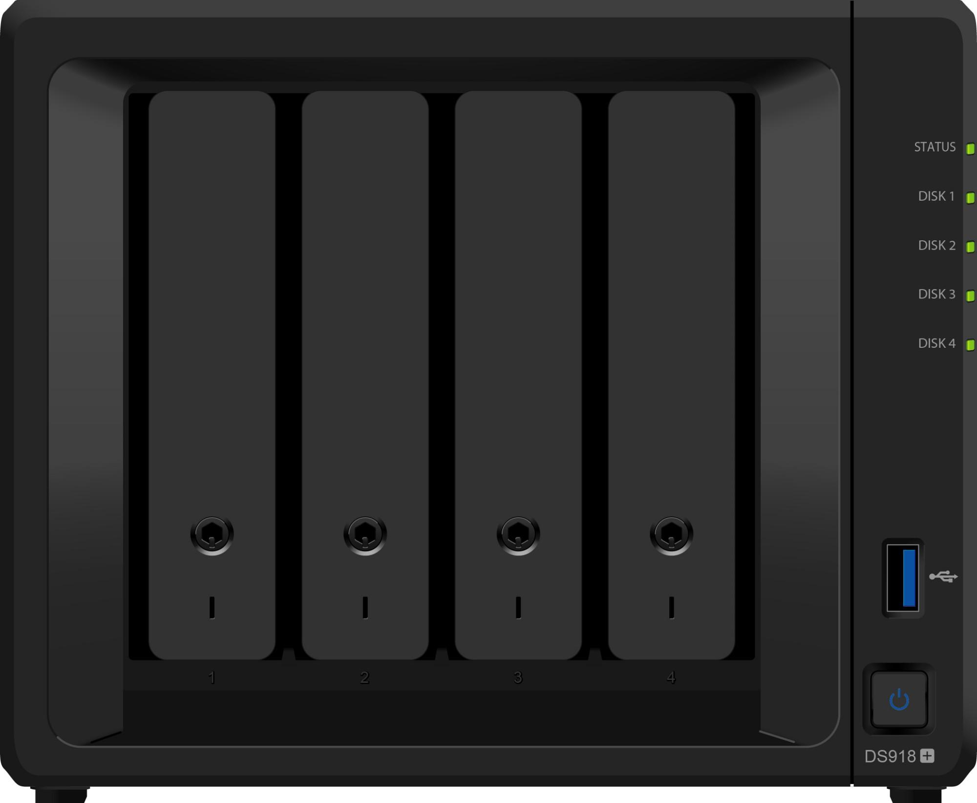 Synology DiskStation DS918+ Ethernet LAN Desktop Black NAS