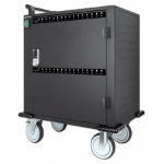 Manhattan Charging Cabinet 32 Unit (576W), Trolley, x32 USB-C ports, Power Delivery 3A/18W per port (576W total), Suitable for tablets/phones, Spacious bays 345x22x235mm, Device charging cables not included, Silent Ventilation, Lockable (2 keys), UK 3-pin