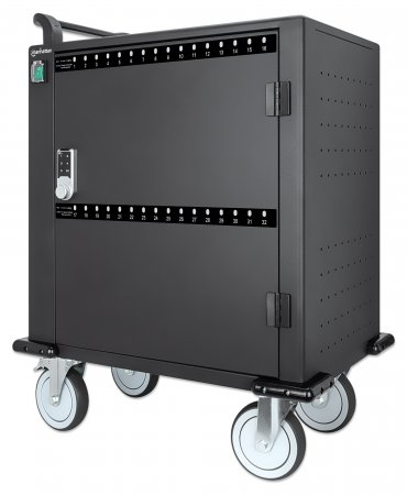 Manhattan Charging Cabinet via USB-C x32 Devices, Trolley, Power Delivery 3A/18W per port (576W total), Suitable for iPads/other tablets/phones/smaller chromebooks, Bays 345x22x235mm, Device charging cables not included, Lockable (PIN code), UK 3-pin Plug
