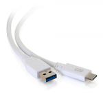 """C2G 28837 USB cable 122"""" (3.1 m) 3.2 Gen 1 (3.1 Gen 1) USB A USB C White"""