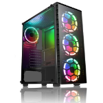 Raider ATX Gaming Case with Window, No PSU, Front & Back RGB Fans with Remote, Tempered Glass, PCB H