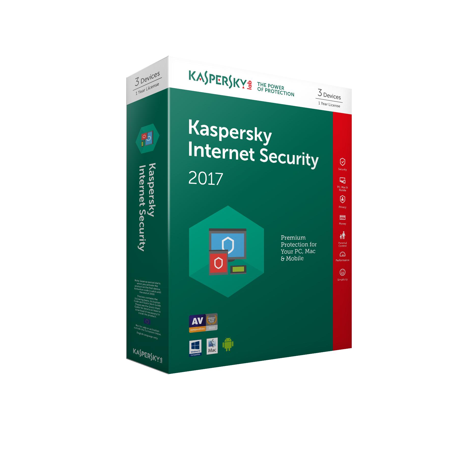 Kaspersky Lab Kaspersky Internet Security 2017 - 3 Devices 1 Year (Standard Packaging)